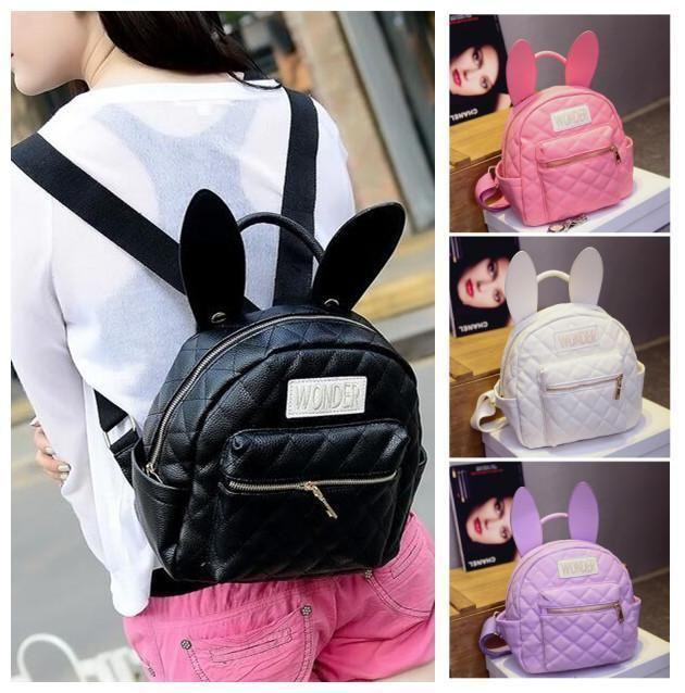 Bunny Ears Rabbit Backpack Plaid Cute School Girl S Schoolbag Korean Style  Bags 491ac1262b504