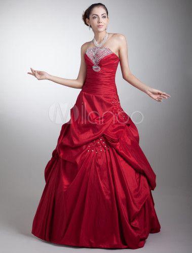 Vestido de fiesta de tafetán de color borgoña  sin tirantes -No.6
