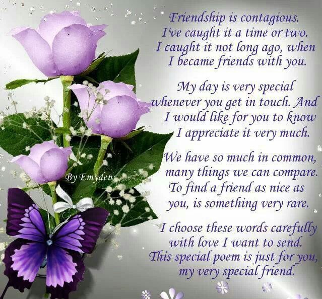 friendship poem to a special friend vickie love from doreen