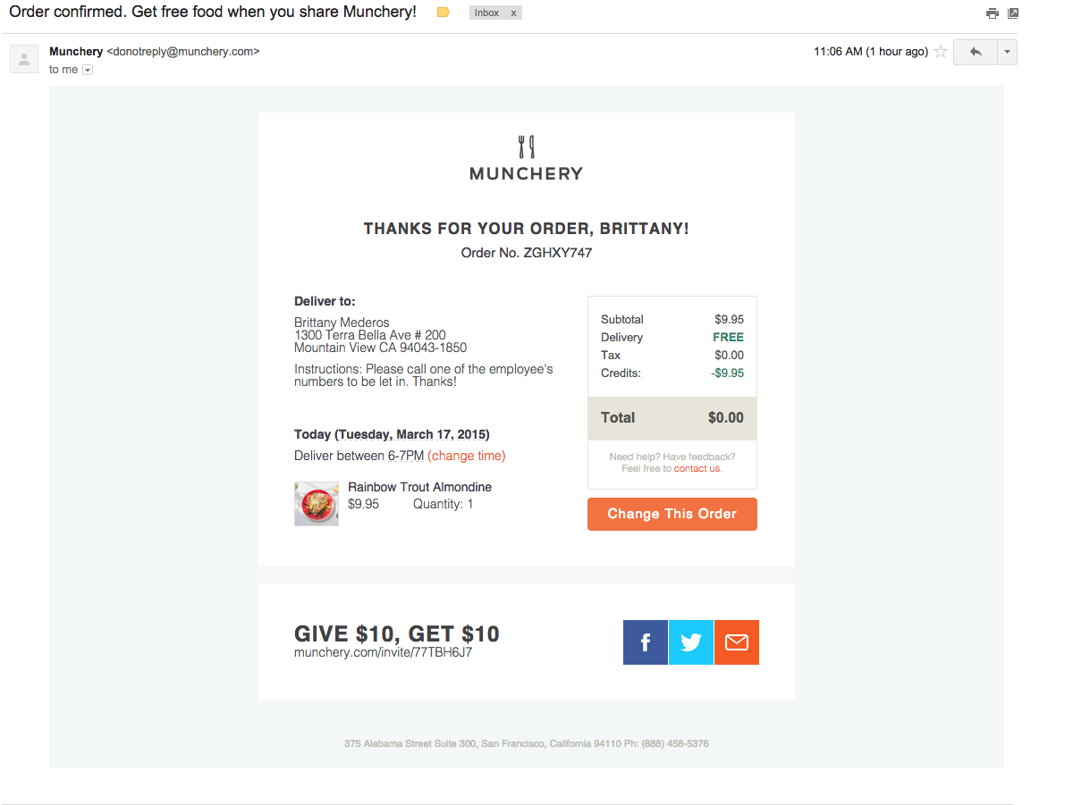 email receipt template