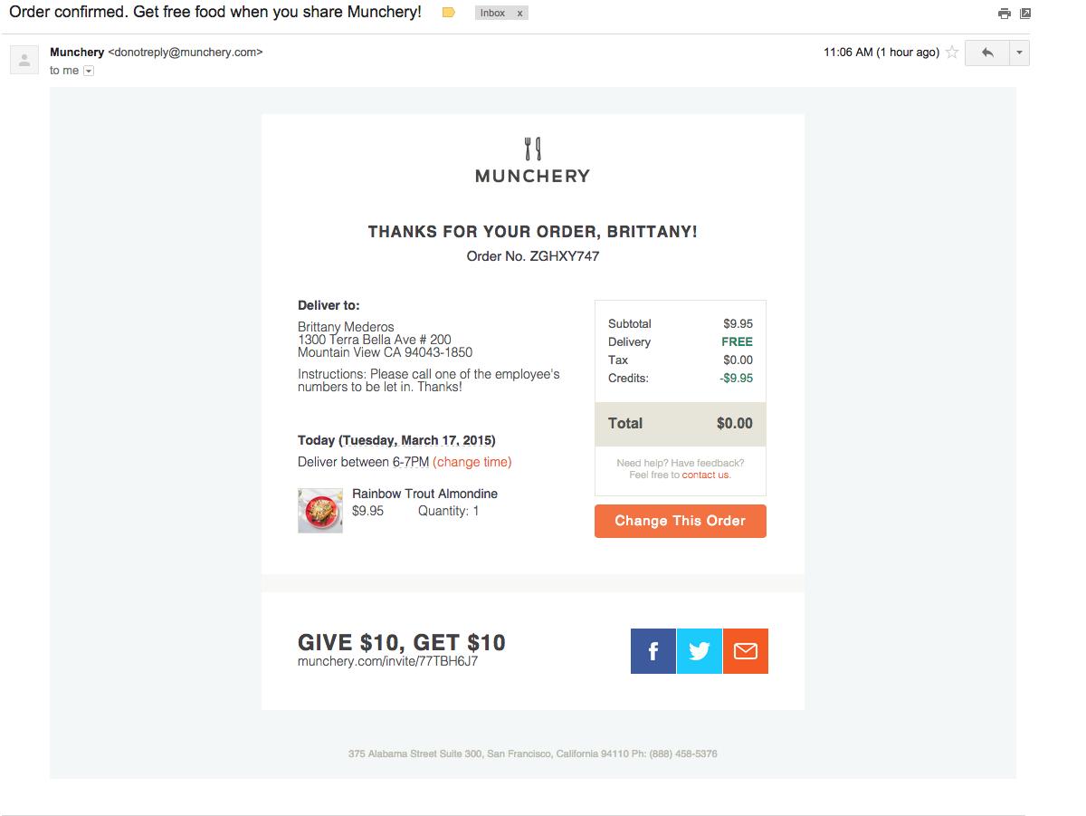 Email Template Ui Munchery Receipt Design Uxui Inspiration