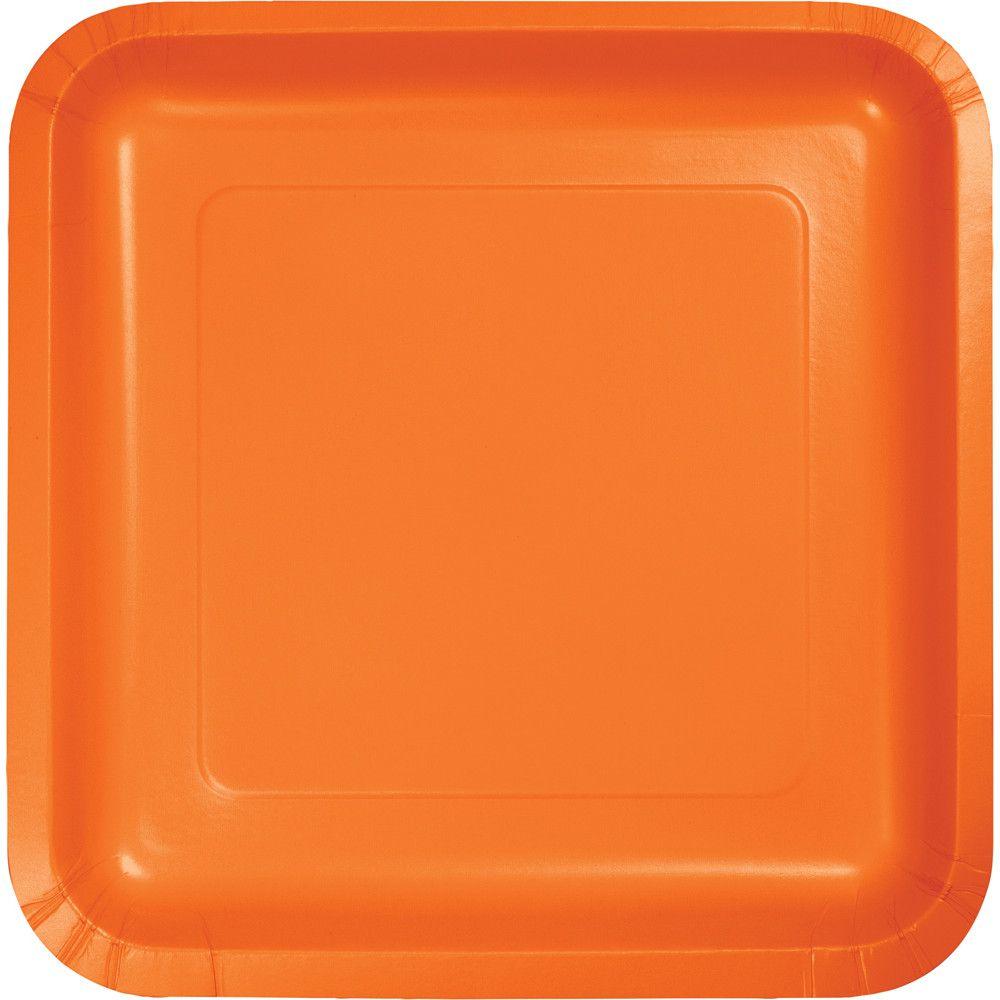 Club Pack Of 180 Sunkissed Orange Disposable Paper Party Banquet Dinner Plates 9 Orange Dinner Plates Square Plates Orange Dessert