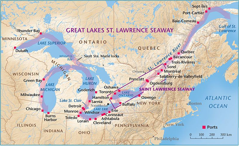 map of St Lawrence Seaway going into Great Lakesusa  Google