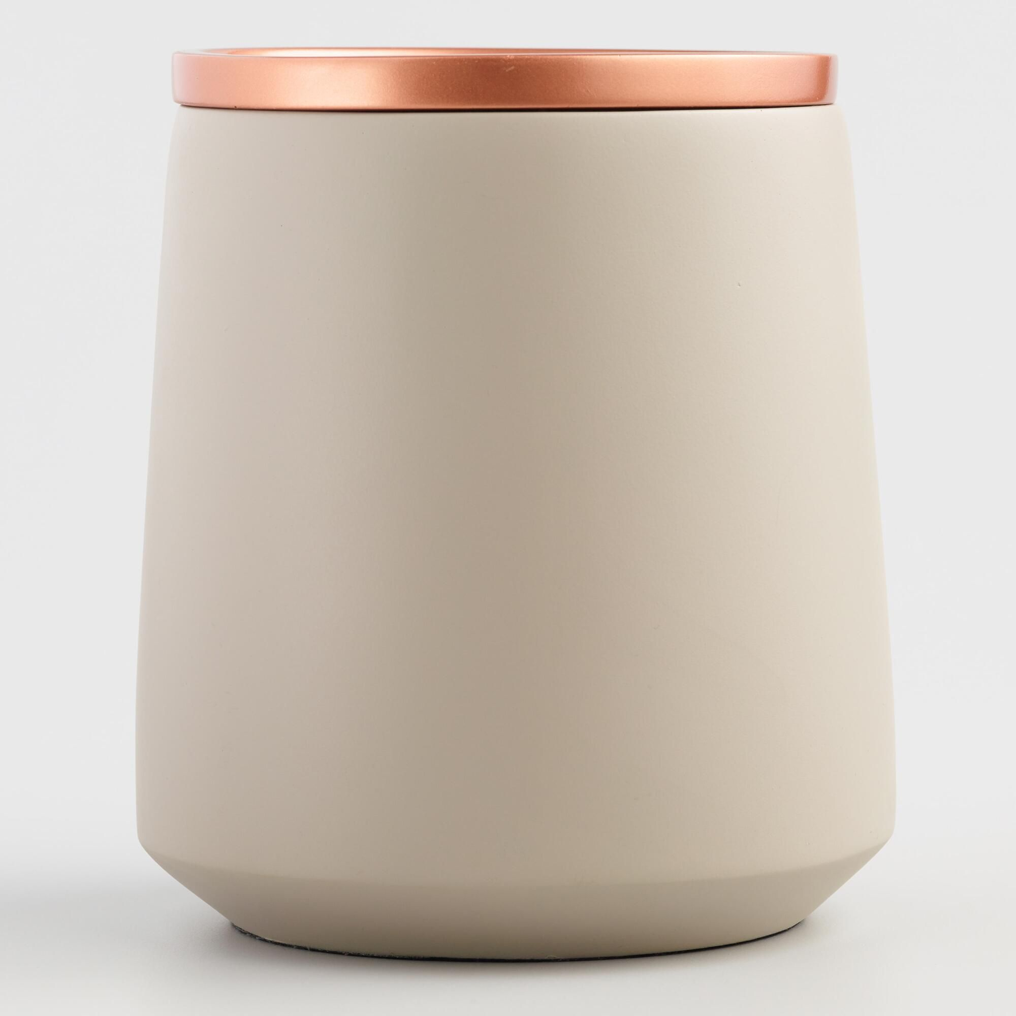 Large Gray Ceramic Storage Canister with Copper Lid by World ...