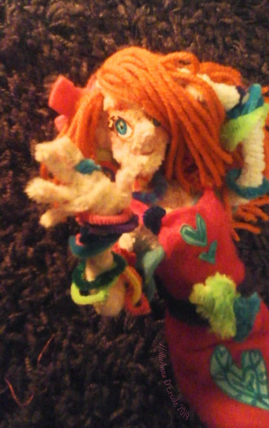 Bea Ana,  the spunky rainbow lover. Doll made by me.  #madebyme #pipecleaner #drawnbyme  #freetoedit #holiztridodi #hollipolliyozza