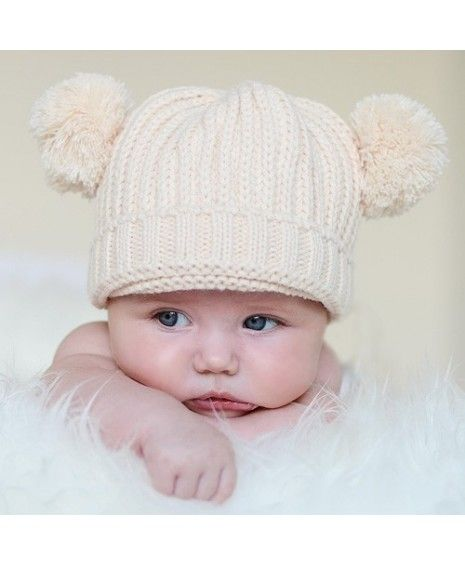 Gorro de lana con dos pompones para bebés  20b53903795