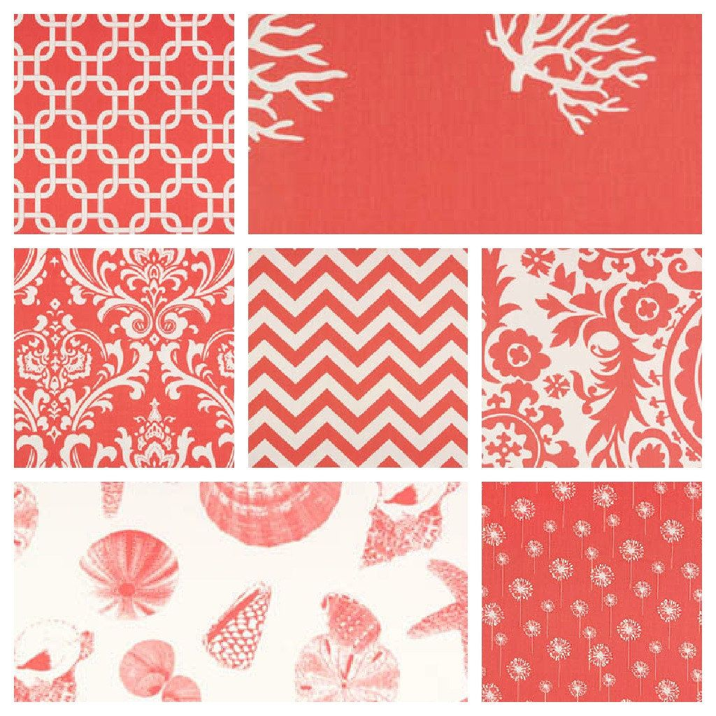 Coral Curtain Drapery Panels