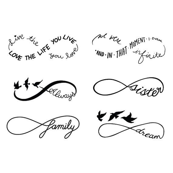 Infinity Symbol Set Temporary Tattoo Set Of 12 Tattoo Set