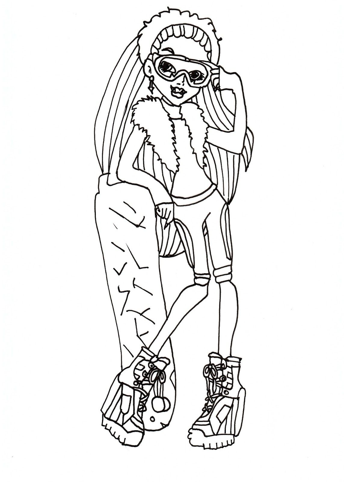 Monster High Free Printables Abbey Snowboard Fashion Coloring