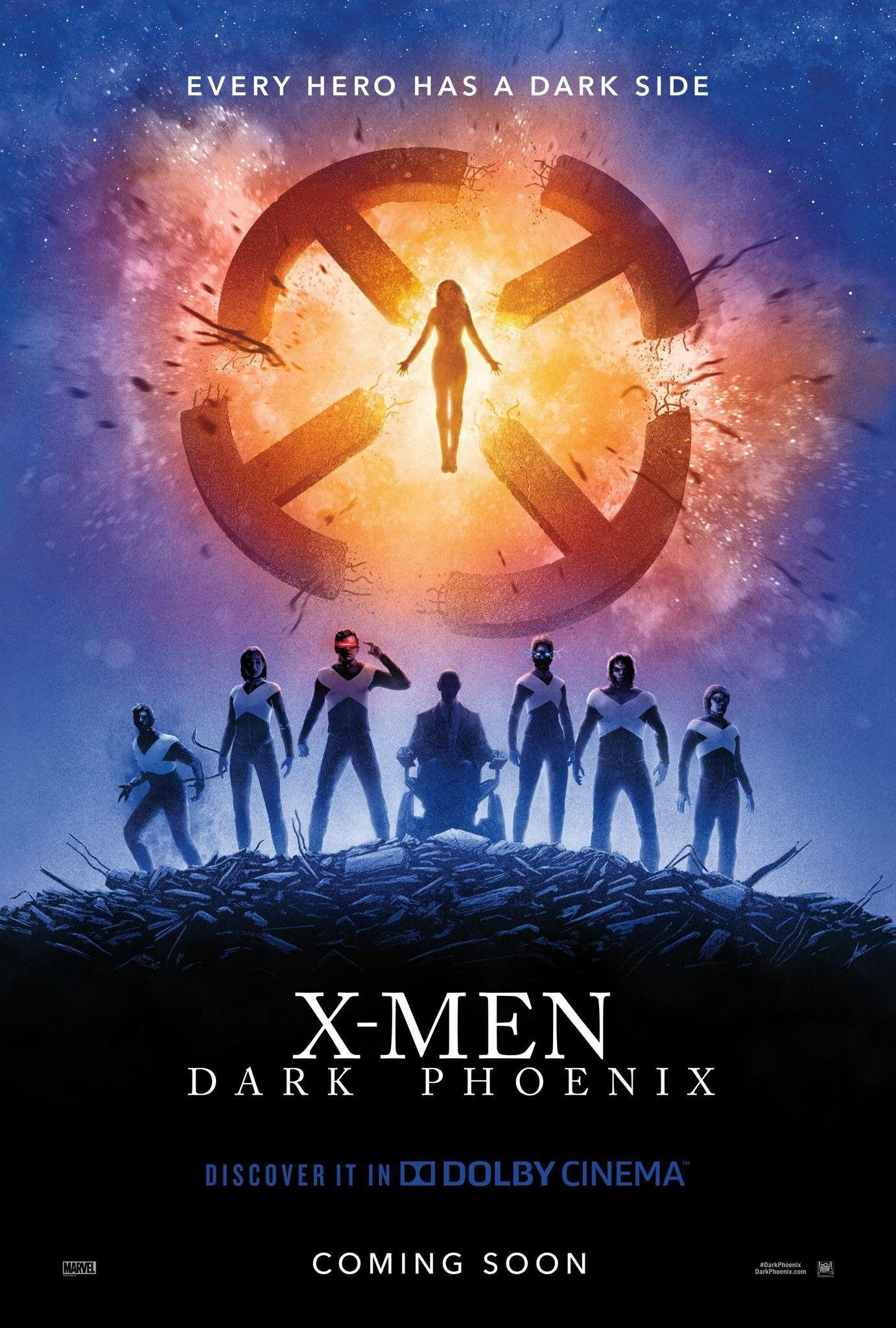 X Men Dark Phoenix Ending Completely Reshot Due To Parallels With Another Superhero Movie Dark Phoenix X Men Movie Posters