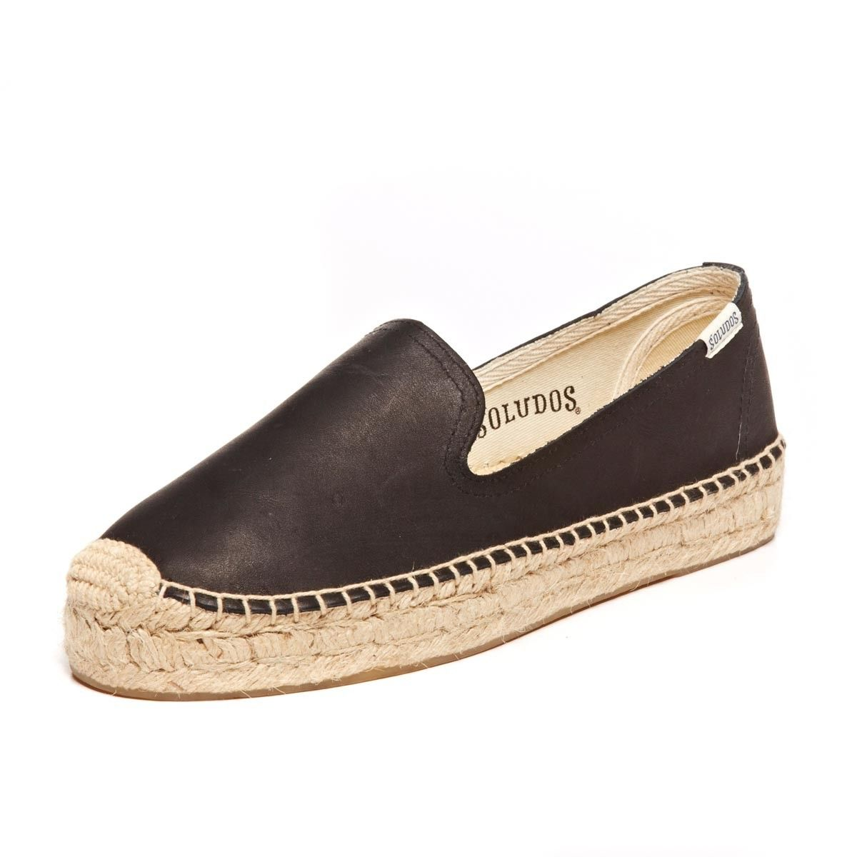 Platform Smoking Slipper - Leather Tan Espadrilles for Women from Soludos -  Soludos Espadrilles