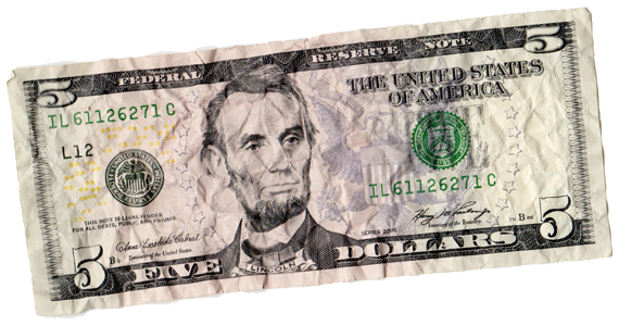 Wrinkled Five Dollar Bill Dollar Dollar Bill Projects To Try
