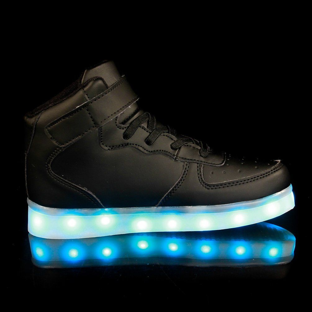 Maniamixx Kids LED Light up Shoes Flashing Sneakers High-Top USB Charging Shoes Boys Girls