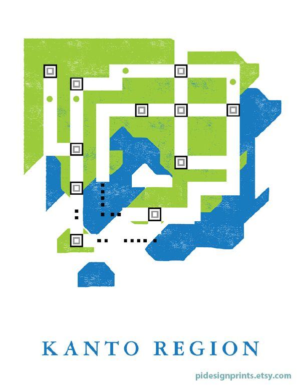 Kanto Region World Map Print | Pokemon World Map | Video Game Travel ...