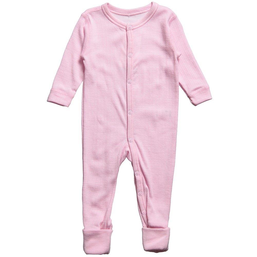 aa6842c68f Joha Baby Girls Pink Thermal Merino Wool Romper at Childrensalon.com ...