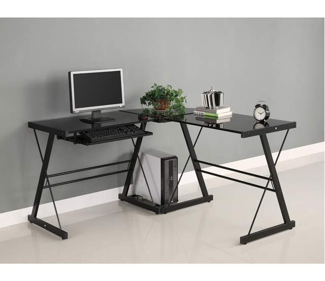 Black Corner Contemporary Desk A Sleek Modern Design Crafted From Durable Steel Thick Tempere Glass Computer Desks Glass Corner Desk Corner Computer Desk