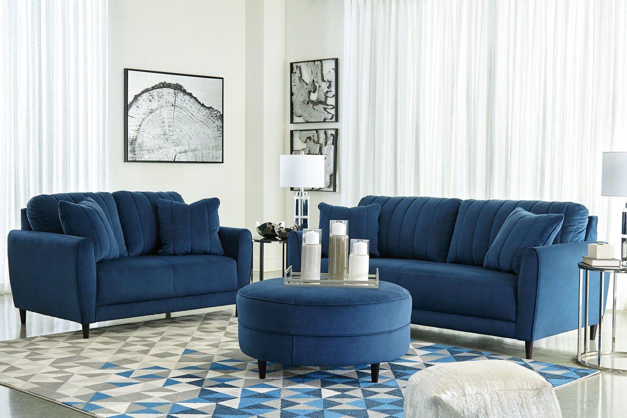 Enderlin Sofa Loveseat And Ottoman Ashley Furniture Homestore In 2021 Blue Living Room Sets Furniture Design Living Room Blue Living Room