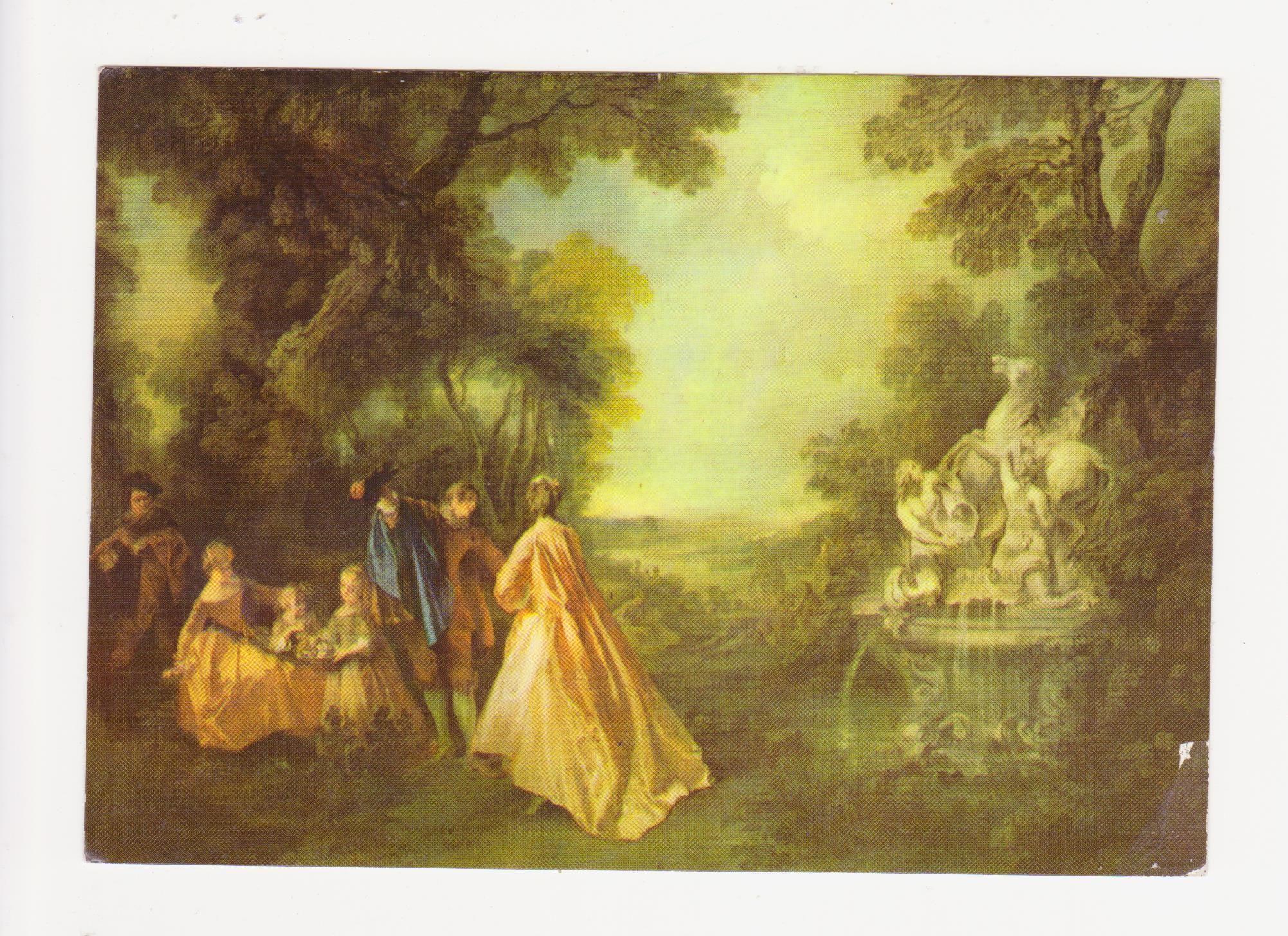 Staatliche Schlosser Und Garten Potsdam Sanssouci Schloss Sanssouci Nicolas Lancret 1690 1743 Malte Der Tanz An Der Pegasusfontane Postkarte Aus Ddr Zeit P