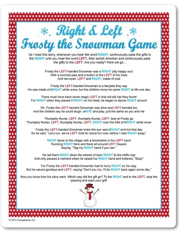 graphic about Left Right Games Printable named Printable Directly Remaining Frosty The Snowman Sport - Funsational