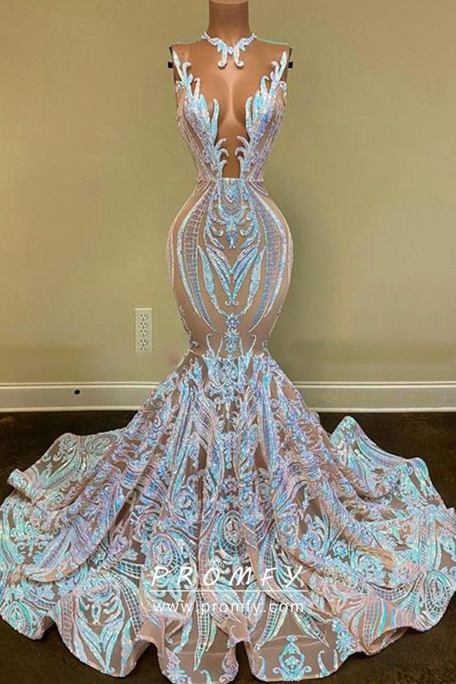 Iridescent Pink & Blue Sequin Trumpet Prom Dress