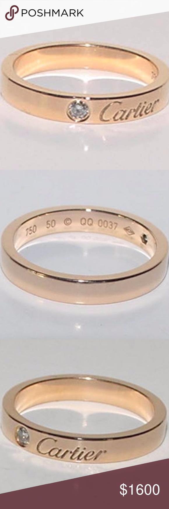 C De Cartier Wedding Band Pink Gold Diamond Up For