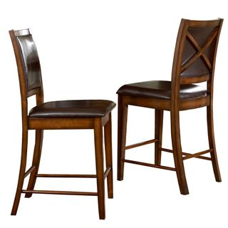 TRIBECCA HOME Frisco Bay Burnished Oak 24 Inch Counter Chairs (Set Of 2)