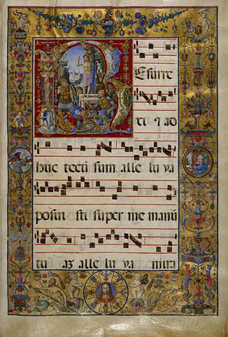 Illuminated Choir Manuscript.   The Resurrection.  MS. LUDWIG VI, FOL. 16 Antonio da Monza, Italian, late 1400s or early 1500s Tempera colors and gold leaf on parchment.