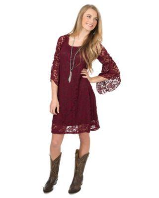 Burgundy Lace 3/4 Bell Sleeve Dress