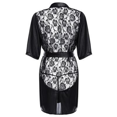 dfd534abb06 MUPLY New Hot Sexy Lingerie Plus Size Satin Lace Black Kimono Intimate  Sleepwear Robe Sexy Night Gown Women Erotic Underwear