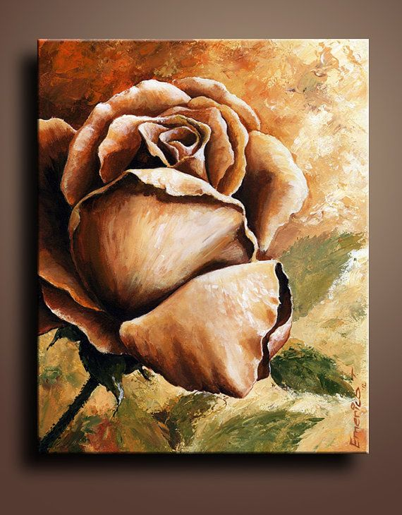 Floral Canvas Print of Rose Acrylic Painting Wall Decor by