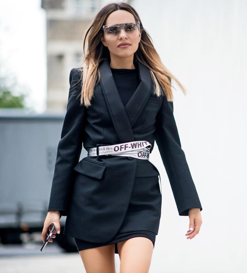 b108cd84f6f4 Maria Hatzistefanis - Mrs Rodial - Street Style - Power Dressing -  Balenciaga Blazer Dress - Off White Belt
