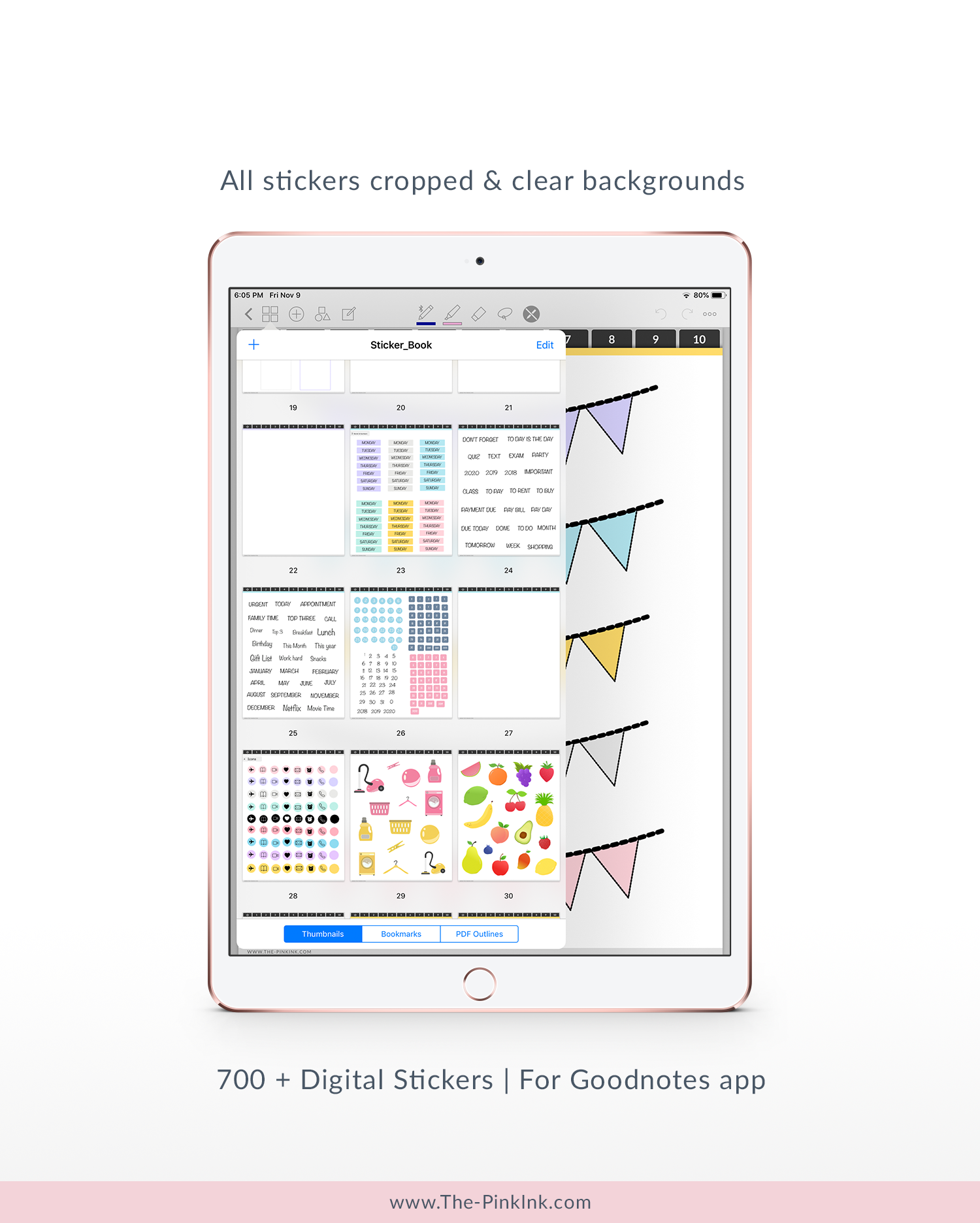 Digital sticker book with planner stickers planner inserts stickers 700 stickers for goodnotes app only the pink ink