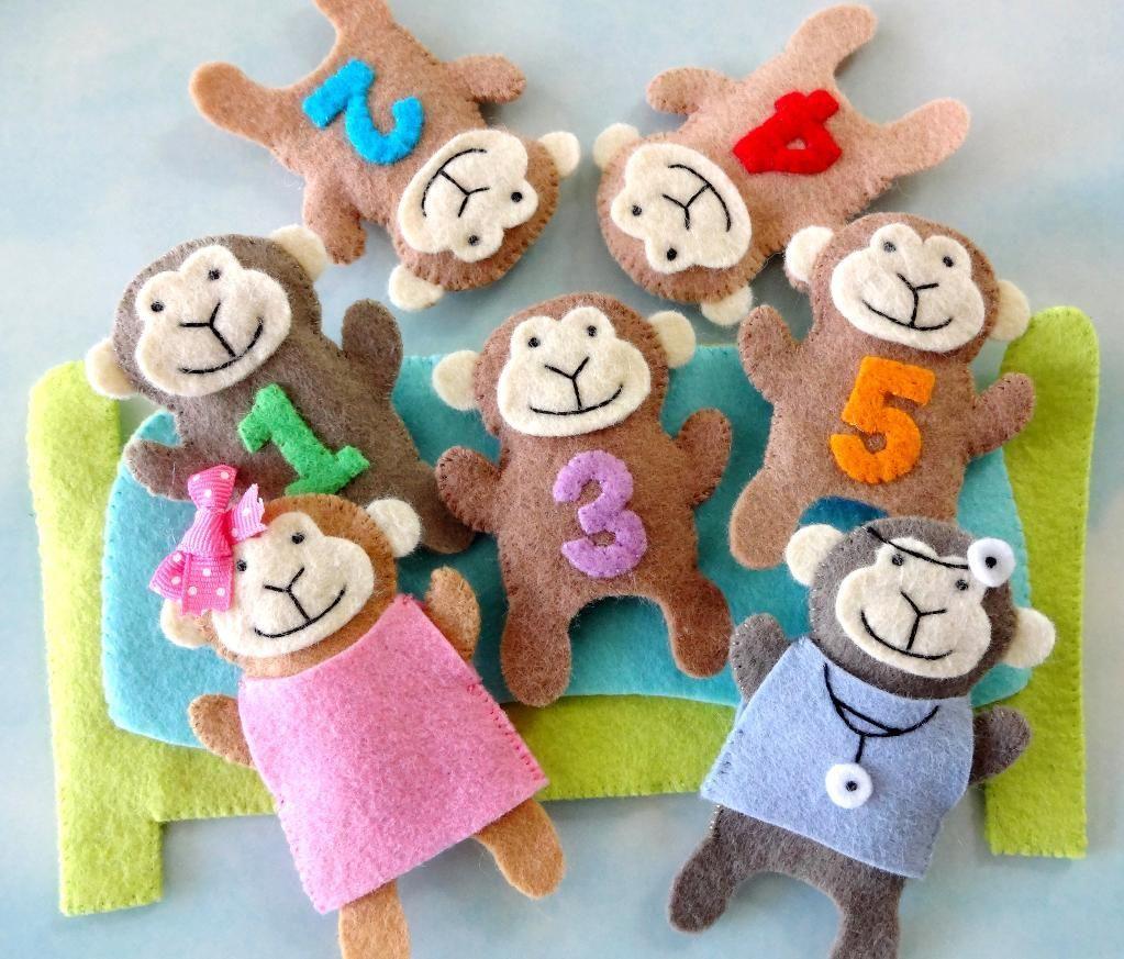 9 Name Sewing Five Little Monkeys Finger Puppet Set