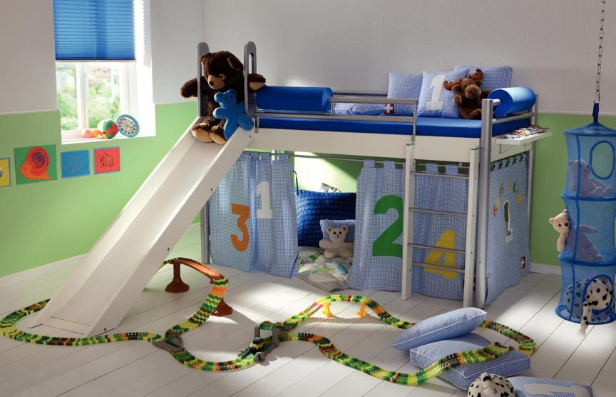 Kinderhochbett mit rutsche  Kinder-Bett HASENA Space Concept Mini Blue inkl. Rutsche ...