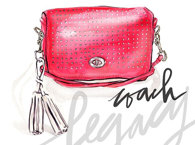Illustration of Legacy Perforated Leather Penny Bag   Coach
