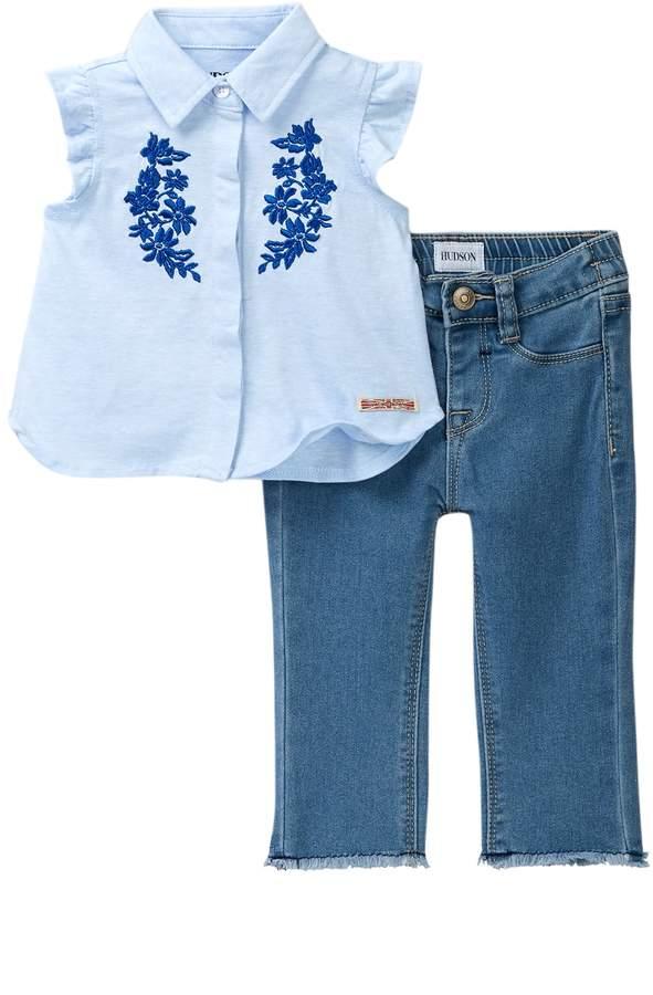 HUDSON Girls Pieced Crop Jean