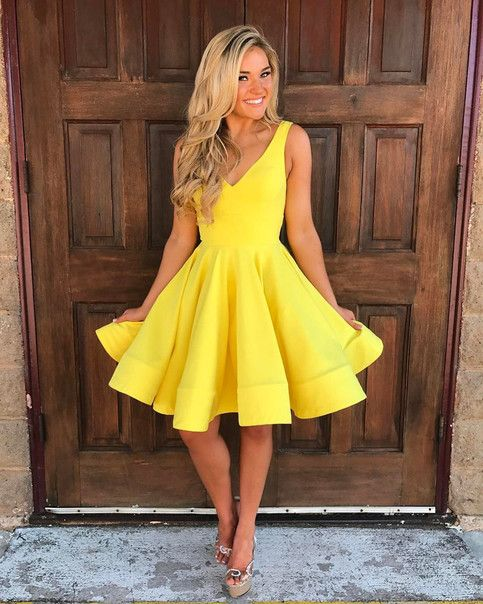 139f5244e448b LoliPromDress Free Shipping Yellow Short V Neck Homecoming Dress ...