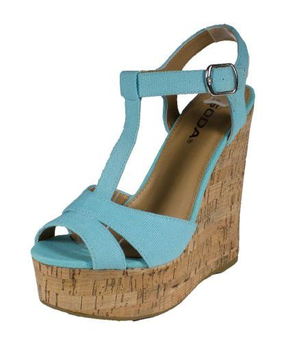 c5bb9a462143d Path By Soda Cute and Comfy TStrap Platform Cork Wedge Sandals blue ...