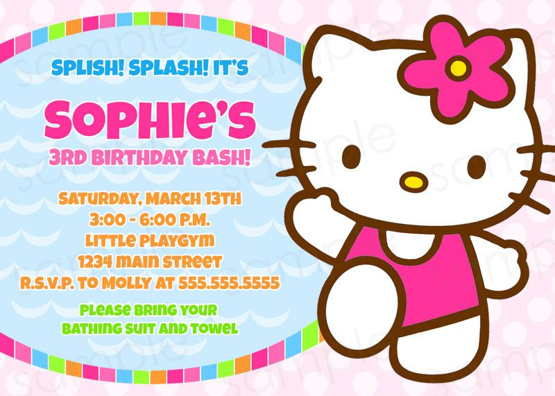 Hello Kitty Pool Party Printable Invitation By Thepinkden On