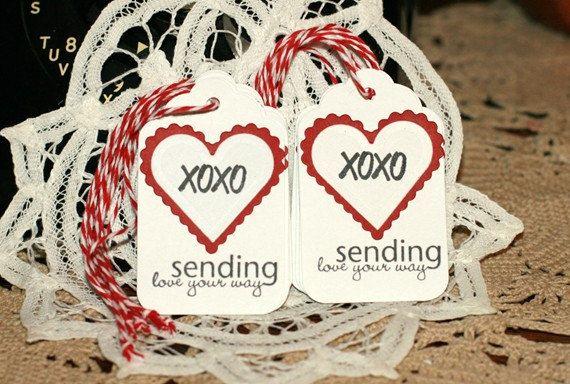 Valentine Gift Tags Set of 8 XOXO Sending My by designstudioL