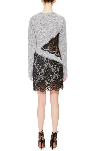 Wool Cashmere V Neck Dress With Lace Skirt by THAKOON Now Available on Moda Operandi
