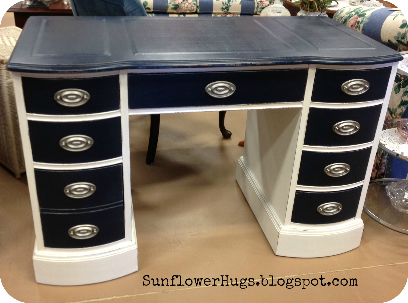 Desk furniture hardware - Navy Blue Nautical Painted Furniture Chalk Paint I Used A Silver Metallic