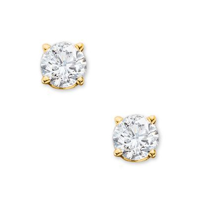 1 Ct T W Diamond Solitaire Stud Earrings In 14k Gold