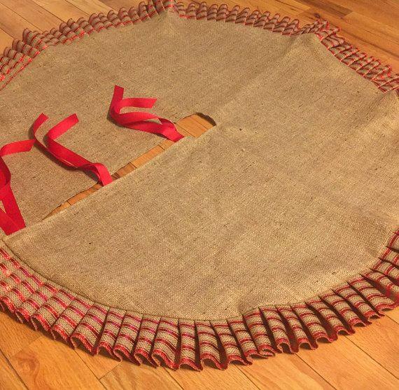 Falda del árbol de Navidad de arpillera con volantes de 45 Hecho de ...