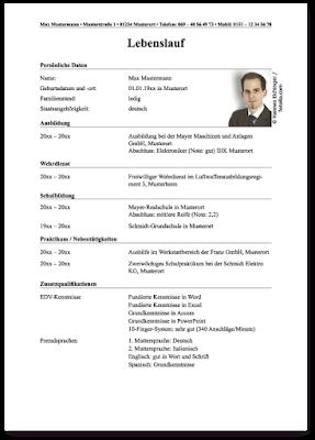 Lebenslauf نموذج الcv المعتمد فى المانيا تعلم الالمانية بسهولة Resume Template Free Resume Template Job Search
