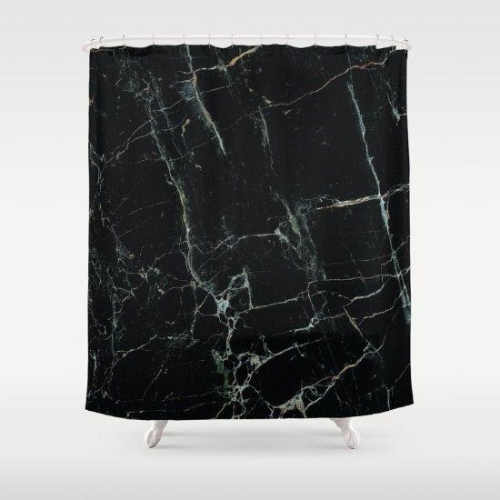 Black Marble Shower Curtain Mens Bathroom