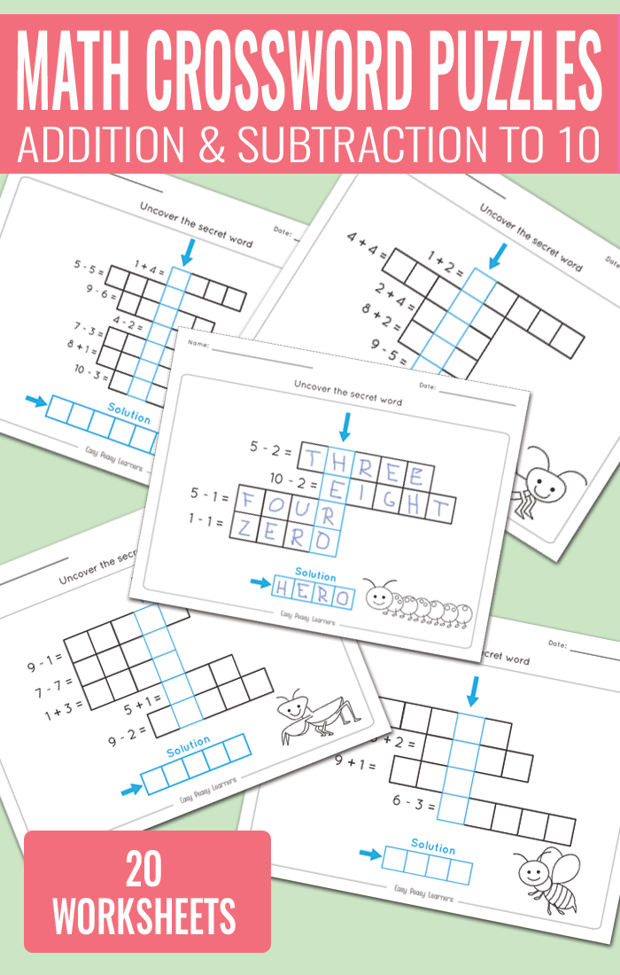 Math Crossword Puzzles Addition and Subtraction to 10 Worksheets for ...