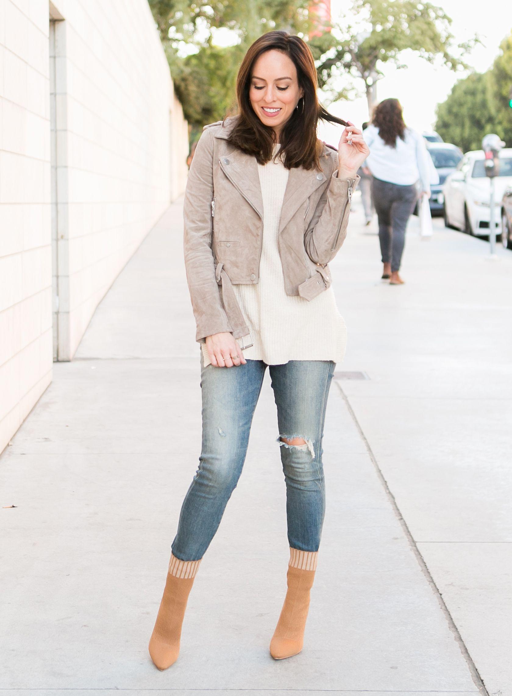 7eb633d2c387 Sydne Style shows how to wear sock booties tucked into jeans  boots   booties  shoes
