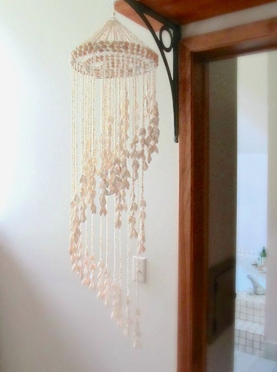 Cascading Cowrie Shell Wall Hanging Tropical Macrame Cowrie Shell Shell Chandelier Chandelier