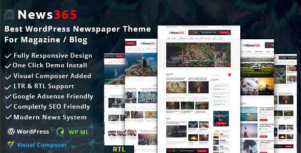 Download News365 V11 Wordpress Newspaper Theme For Magazine